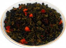 Чай зеленый HANSA TEA Земляника со сливками, 500 г, фольгированный пакет, крупнолистовой зеленый ароматизированный чай, купить чай
