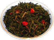 Чай зеленый HANSA TEA Клубника со сливками, 500 г, фольгированный пакет, крупнолистовой зеленый ароматизированный чай, купить чай