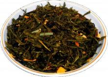 Чай зеленый HANSA TEA Лимон с женьшенем, 500 г, фольгированный пакет, крупнолистовой зеленый ароматизированный чай, купить чай